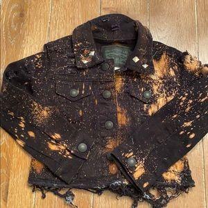 Bleached black jean jacket